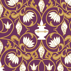 Holy Talismans- Sacred Indian Motifs- Plum Gold- Large Scale