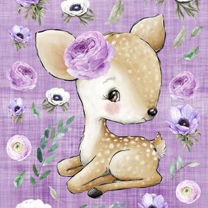 26x36 deer blanket purple floral