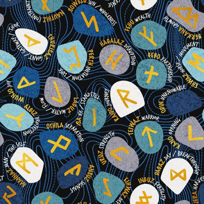 Mystical Viking Runes // normal scale // black background blue grey and teal stones golden letters of the runic alphabet