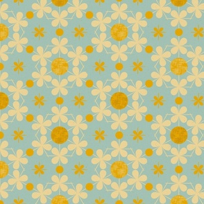 Four Leaf Clovers and Dots, Mustard Yellow and Robin's Egg Blue
