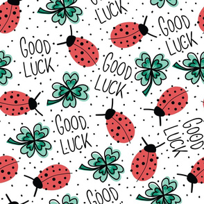 Good Luck Clover Leaves And Ladybugs