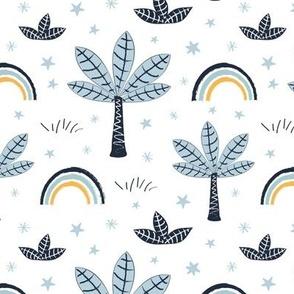 safari baby nursery - palms and rainbow