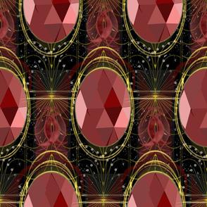 Ruby Steampunk Talisman Jewel - Mystical Steampunk Opera-House-style Jewelry Gemstone set in Gold Jewelry with subtle celestial moon, star background