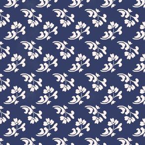 LEMON ZEST blue and white petite floral painterly farmhouse cottage small white flowers TerriConradDesigns