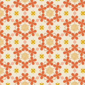 Four Leaf Clovers and Dots, Orange, Pink and Cream