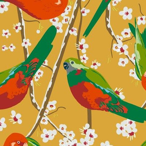 king parrots on mustard (large scale)