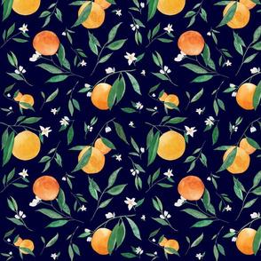 Orange Blossoms on Navy