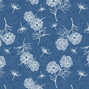 Cosmos and Queen Anns Lace on Aegean Blue Texture