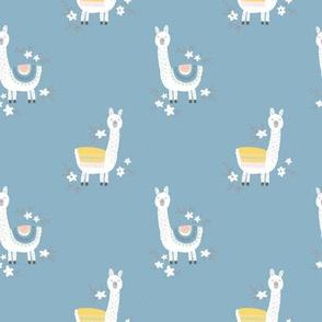 happy llama on blue - M