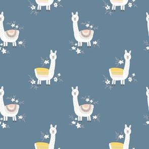 happy llama on dark blue - M
