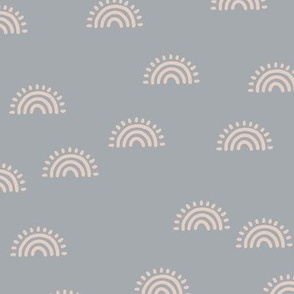 Minimalist Sunset Rainbow boho style scandinavian sun nursery design cool blue gray blush