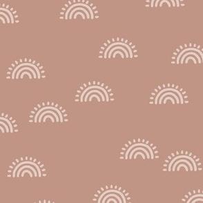 Minimalist Sunset Rainbow boho style scandinavian sun nursery design sienna muted orange beige blush