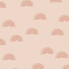 Minimalist Sunset Rainbow boho style scandinavian sun nursery design soft beige coral orange