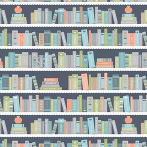 Back to school book shelf abc books and reading kids kindergarten illustration green blue gray neutral boys