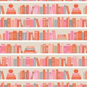 Back to school book shelf abc books and reading kids kindergarten illustration peach orange beige blush girls seventies boho