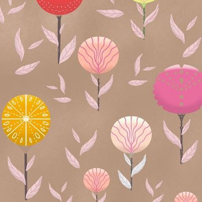 hand drawn Stylised flowers and honeycomb background beige