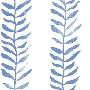 Botanical Block Print in Indigo Blue (xl scale)   Leaf pattern fabric from original block print, plant fabric, garden and coastal decor.