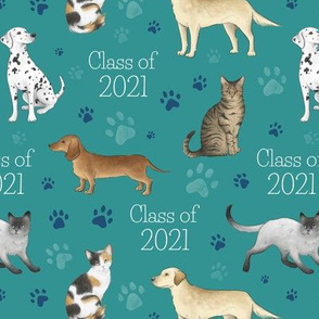 Cats and Dogs Class of 2021 on teal - medium scale