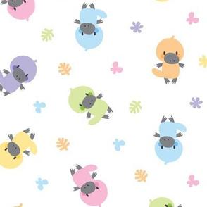 Cute pastel platypuses