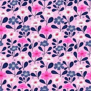 Bubble Gum Pink Tropical Floral Mask Scale (s)