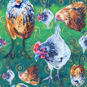 Three Old Hens 12x12