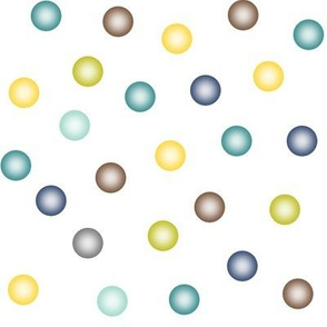 balloon dots in teal, navy, yellow, brown and wasabi