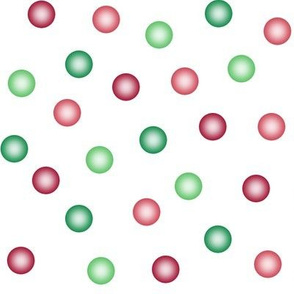 balloon dots - red and green on white