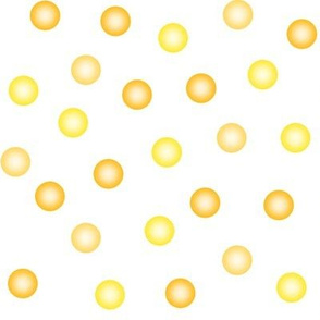 balloon dots in yyellow, saffron and gold on white