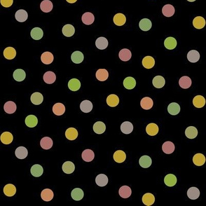 confetti dots - vintage colors on black