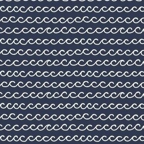 Small Hand Drawn Waves in white on dark blue