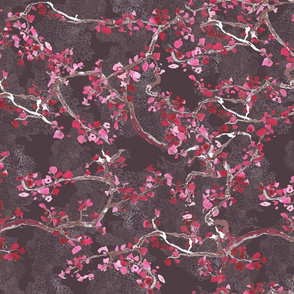 branches on lacy grey background