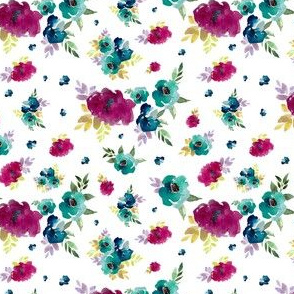 Blue and Bright Pink Florals