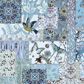 patchwork shades of turquoise n blue