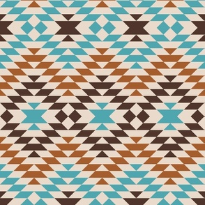 Aztec kilim greige peacock teal copper brown  large Fabric