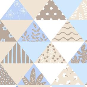 Triangular pastel beige and blue patchwork
