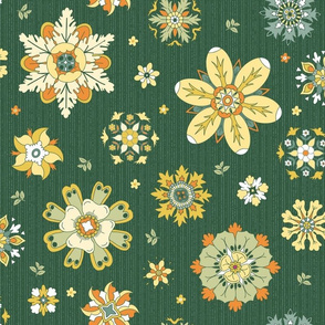 scattered rosette flowers dark green large