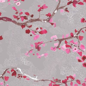 branches on  lacy beige background
