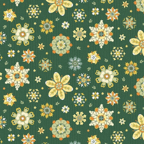 scattered rosette flowers dark green medium