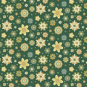 scattered rosette flowers dark green small