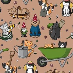 Gardening Cats Brown