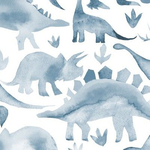Steel blue dinosaurs on white - larger scale