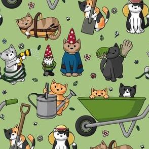 Gardening Cats Green