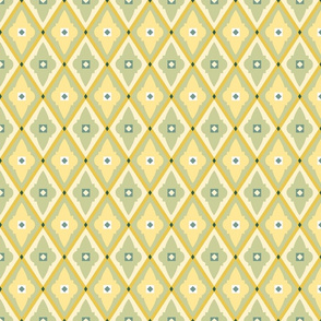 geometric quatrefoils mellow yellow medium