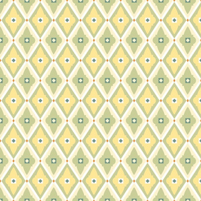 geometric quatrefoils light yellow green medium