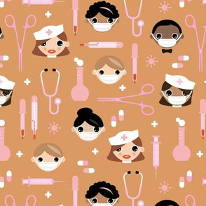 Nurses and doctors medical theme with scissors pills and first aid items caramel pink girls