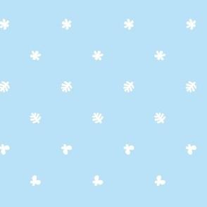 Polka leaves flowers and butterflies Blue