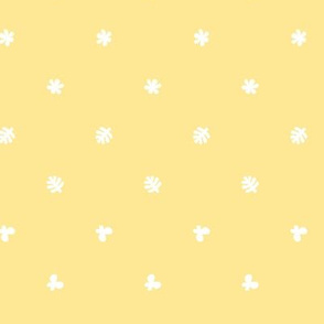 Polka leaves flowers and butterflies Yellow