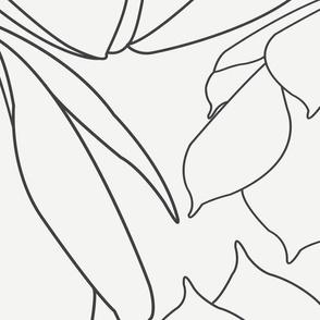 White & Black Line Floral Breakfast Tea Pattern