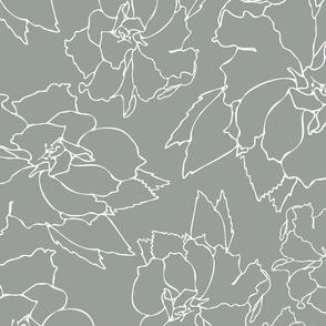 Green Hibiscus Floral Tea Pattern