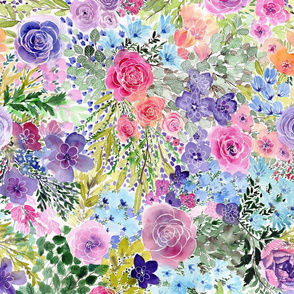 Flowerfield, colorful flowers painted with watercolors